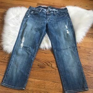 7famk crop straight leg distressed jeans 31
